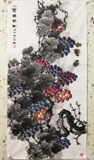 韩宗华日记-国画花鸟画葡萄系列《硕果累累》,葡萄架下配麻雀,动静结合,别有一番生趣。   【图8】