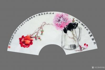 李伟强日记-敬献英雄,绘制玫瑰扇面九帧,聊表对神州大地,为拯救众生灵,大爱无痕的最可爱的人—【图2】