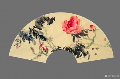 李伟强日记-敬献英雄,绘制玫瑰扇面九帧,聊表对神州大地,为拯救众生灵,大爱无痕的最可爱的人—【图5】