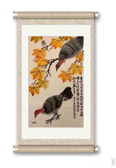 石广生日记-国画花鸟画《岂只凤凰占高枝》   深山避疫,多见山鸡,时人称吐火鸡。因此鸡据闻【图3】