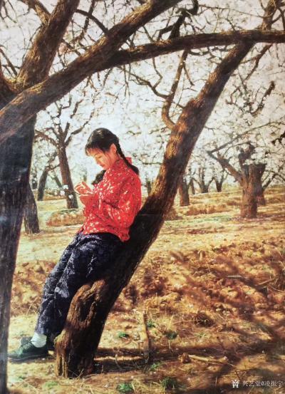 凌振宁日记-油画人物画《穿红衣服的农家姑娘》; 画的是一种情怀,看画似乎耳畔响起那首《村里【图1】