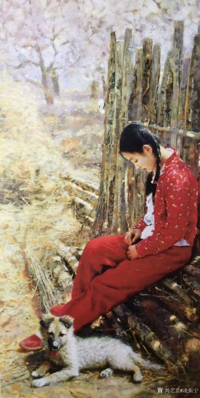 凌振宁日记-油画人物画《穿红衣服的农家姑娘》; 画的是一种情怀,看画似乎耳畔响起那首《村里【图3】