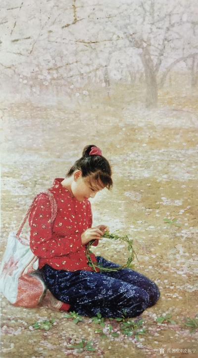 凌振宁日记-油画人物画《穿红衣服的农家姑娘》; 画的是一种情怀,看画似乎耳畔响起那首《村里【图4】