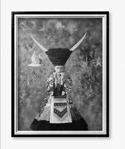 杨洪顺日记-油画人物画《孤鸿》,作者杨洪顺,附人物原型合影;  创作感悟:一幅好作品的完美【图1】