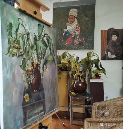 杨洪顺日记-油画写生作品《向日葵》,第5天,画到叶子都枯萎了,好好干活,想法不要太多。【图2】