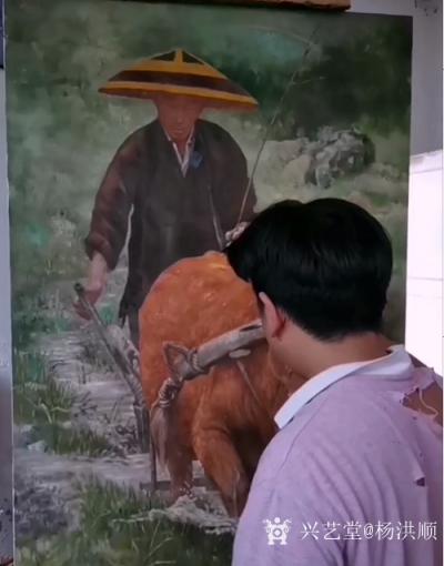 杨洪顺日记-油画《二哥家杀猪啦》《犁田》,杨洪顺农村题材油画作品欣赏; 从小放牛犁田,后来【图3】