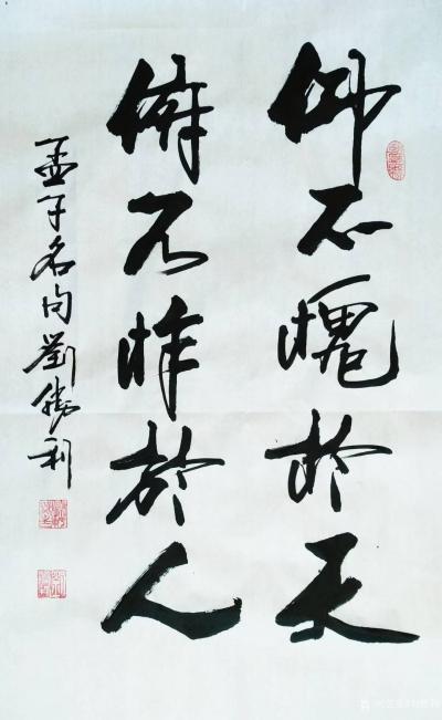 刘胜利日记-行书书法作品录孟子名句《仰不愧于天,俯不怍于人。》   应河北省廊坊市于总之邀【图1】