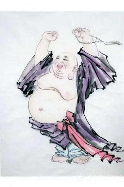 徐景莲日记-国画人物画《笑弥勒》,庚子年新作品。  佛家经典话语:糊涂是本事,知足是聪明。【图1】