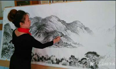 徐景莲日记-国画山水画《神州山河》,创作中; 创作感悟:谦虚论语: