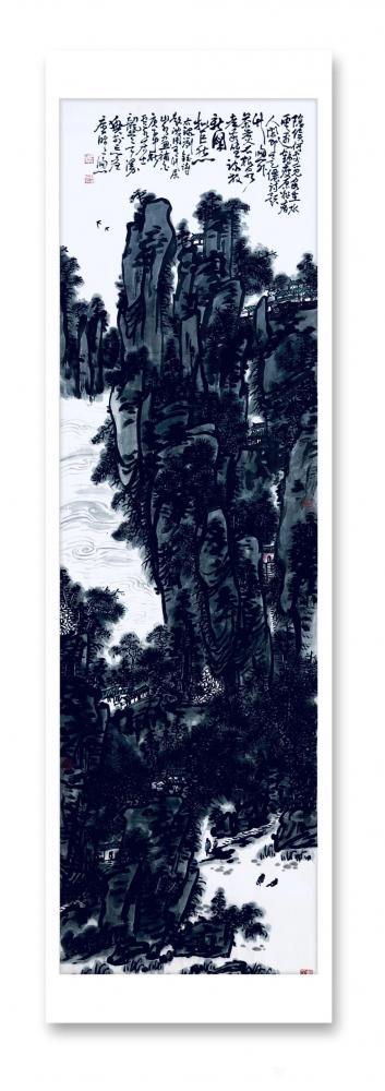 龚光万日记-国画水墨写意山水画《诗题竹窗外,茶煮石根泉》作品尺寸小八尺248X96CM; 【图1】