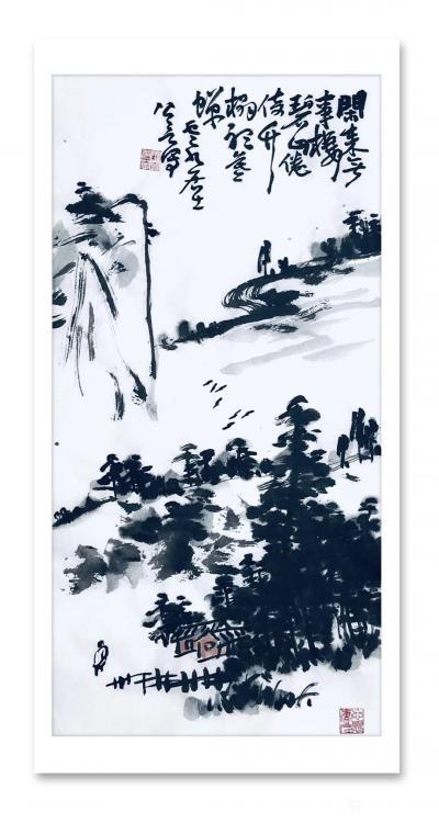 龚光万日记-国画水墨写意山水画《诗题竹窗外,茶煮石根泉》作品尺寸小八尺248X96CM; 【图3】