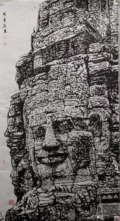 马培童日记-焦墨刻石皴法:   焦墨艺术,一定要给观众精神上的享受,和精神上的满足。因此我【图1】