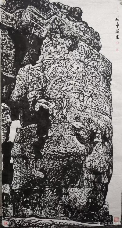 马培童日记-焦墨刻石皴法:   焦墨艺术,一定要给观众精神上的享受,和精神上的满足。因此我【图4】
