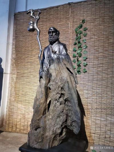 飞黄根艺日记-根雕作品《达摩祖师》; 材料:乌木红椿 尺寸:长68宽48高206 造型独【图1】