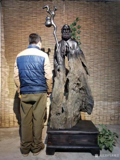 飞黄根艺日记-根雕作品《达摩祖师》; 材料:乌木红椿 尺寸:长68宽48高206 造型独【图2】