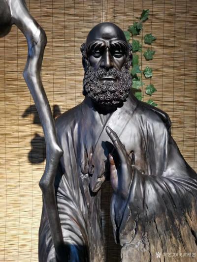 飞黄根艺日记-根雕作品《达摩祖师》; 材料:乌木红椿 尺寸:长68宽48高206 造型独【图4】