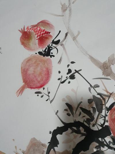李玉凤日记-国画花鸟画石榴《多孑多福图轴》,作品尺寸136X 69cm。 自题诗:奇树移至【图3】