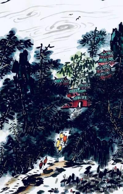 龚光万日记-国画写意山水画新作《雨过碧溪,云护仙宫》,作品尺寸69.138cm,辛丑年春月龚【图3】