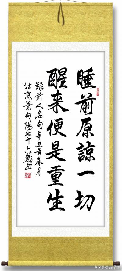 叶向阳日记-行书书法作品《睡前原谅一切醒来便是重生》,叶向阳七十六岁书於北京; 《睡前原谅【图2】