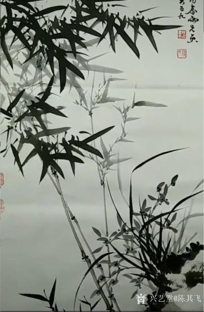 陈其飞日记-国画竹子兰草,名称《春风浩荡》,辛丑年春月陈其飞画竹; 路,要和优秀的人一起走【图1】