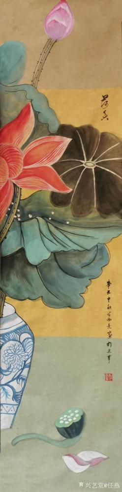 任燕日记-国画工笔画荷花《一堂和气》《荷香》,作品尺寸八尺对开248X61CM,任燕(任南【图1】