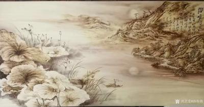 孙传海日记-孙传海烙画作品《荷塘月色》欣赏,附小诗一首: 月色中, 烟雨江南千里外。 【图1】