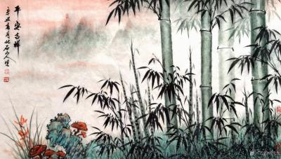 刘文生日记-国画花鸟画竹子《竹报平安》《平安吉祥》,辛丑年春月北石山人(刘文生)作。 作品【图2】