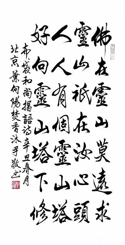 叶向阳日记-行书书法作品《布袋和尚偈语诗》,辛丑年春月北京叶向阳焚香沐手敬书。 布袋和尚偈【图1】
