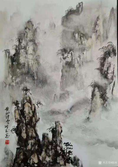 陈刚日记-画三幅国画山水水粉画《黄山烟云》《楠溪捕鱼》,装裱两幅,又开始采风了。我犹如一只【图1】
