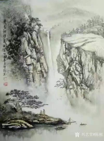 陈刚日记-画三幅国画山水水粉画《黄山烟云》《楠溪捕鱼》,装裱两幅,又开始采风了。我犹如一只【图2】