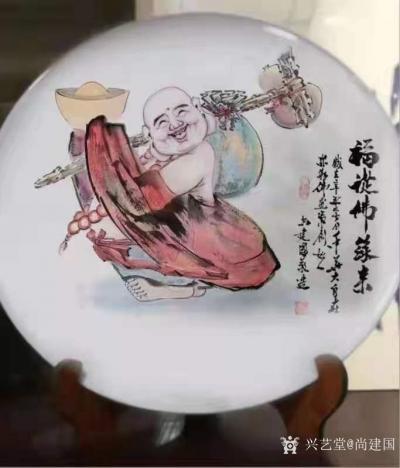 尚建国日记-大自在弥勒佛绘画在瓷器上,又是别有一番神韵。 清晨喜鹊鸣枝头,提醒我们善待生命【图7】