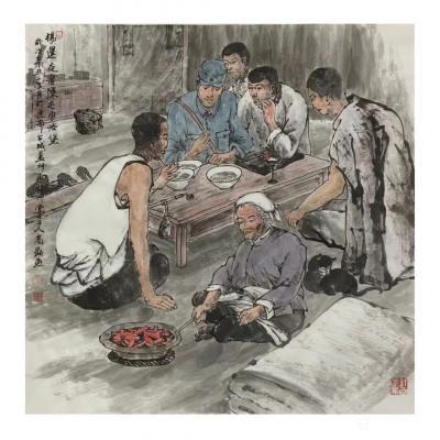 高显惠收藏-国画人物画《血染黎明》《杨运夜宿陈屯枣峡堡》辛丑年春月高显惠创作作品; 庆祝中【图2】