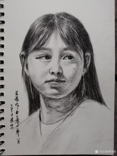 邓烈根日记-人物头像肖像速写作品欣赏;《女青年》《清纯女孩》《男青年》《叼烟杆的老者》。 【图1】