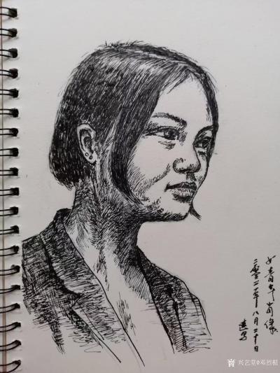 邓烈根日记-人物头像肖像速写作品欣赏;《女青年》《清纯女孩》《男青年》《叼烟杆的老者》。 【图2】