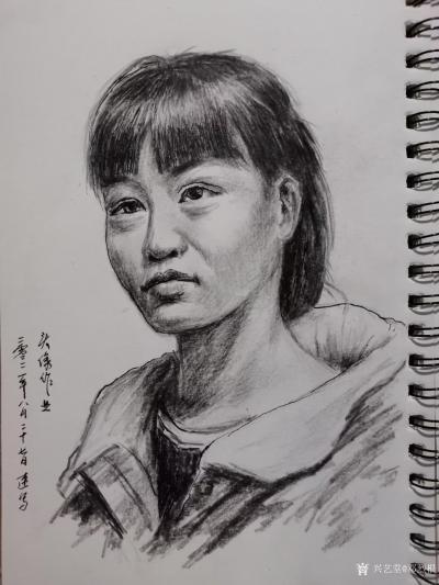 邓烈根日记-人物头像肖像速写作品欣赏;《女青年》《清纯女孩》《男青年》《叼烟杆的老者》。 【图3】