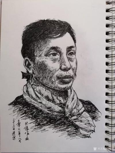 邓烈根日记-人物头像肖像速写作品欣赏;《女青年》《清纯女孩》《男青年》《叼烟杆的老者》。 【图4】