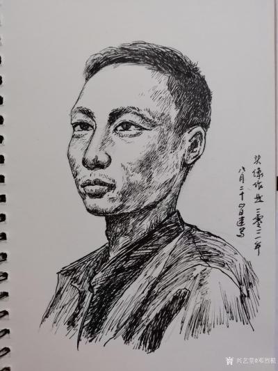 邓烈根日记-人物头像肖像速写作品欣赏;《女青年》《清纯女孩》《男青年》《叼烟杆的老者》。 【图5】
