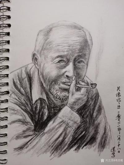 邓烈根日记-人物头像肖像速写作品欣赏;《女青年》《清纯女孩》《男青年》《叼烟杆的老者》。 【图6】