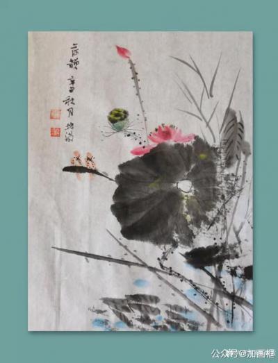 陈培泼日记-国画花鸟画水墨荷花作品《荷塘清韵》,辛丑年秋月陈培泼画。【图1】