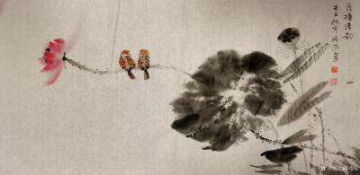 陈培泼日记-国画花鸟画水墨荷花作品《荷塘清韵》,辛丑年秋月陈培泼画。【图2】