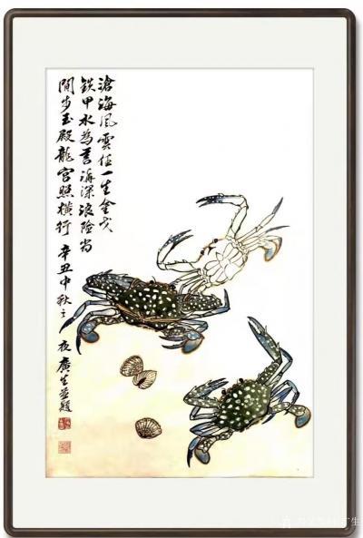 石广生日记-国画螃蟹《金戈铁甲》,辛丑年仲秋石广生创作,附装裱效果图。 中秋那天买了三只花【图2】