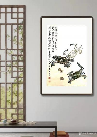石广生日记-国画螃蟹《金戈铁甲》,辛丑年仲秋石广生创作,附装裱效果图。 中秋那天买了三只花【图3】