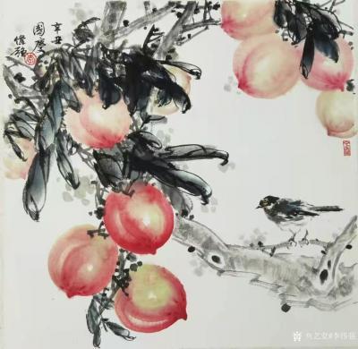 李伟强日记-国画花鸟画《蜜桃图》,辛丑年国庆李伟强为祝福祖国而创作。 今年国庆正值中华人民【图1】